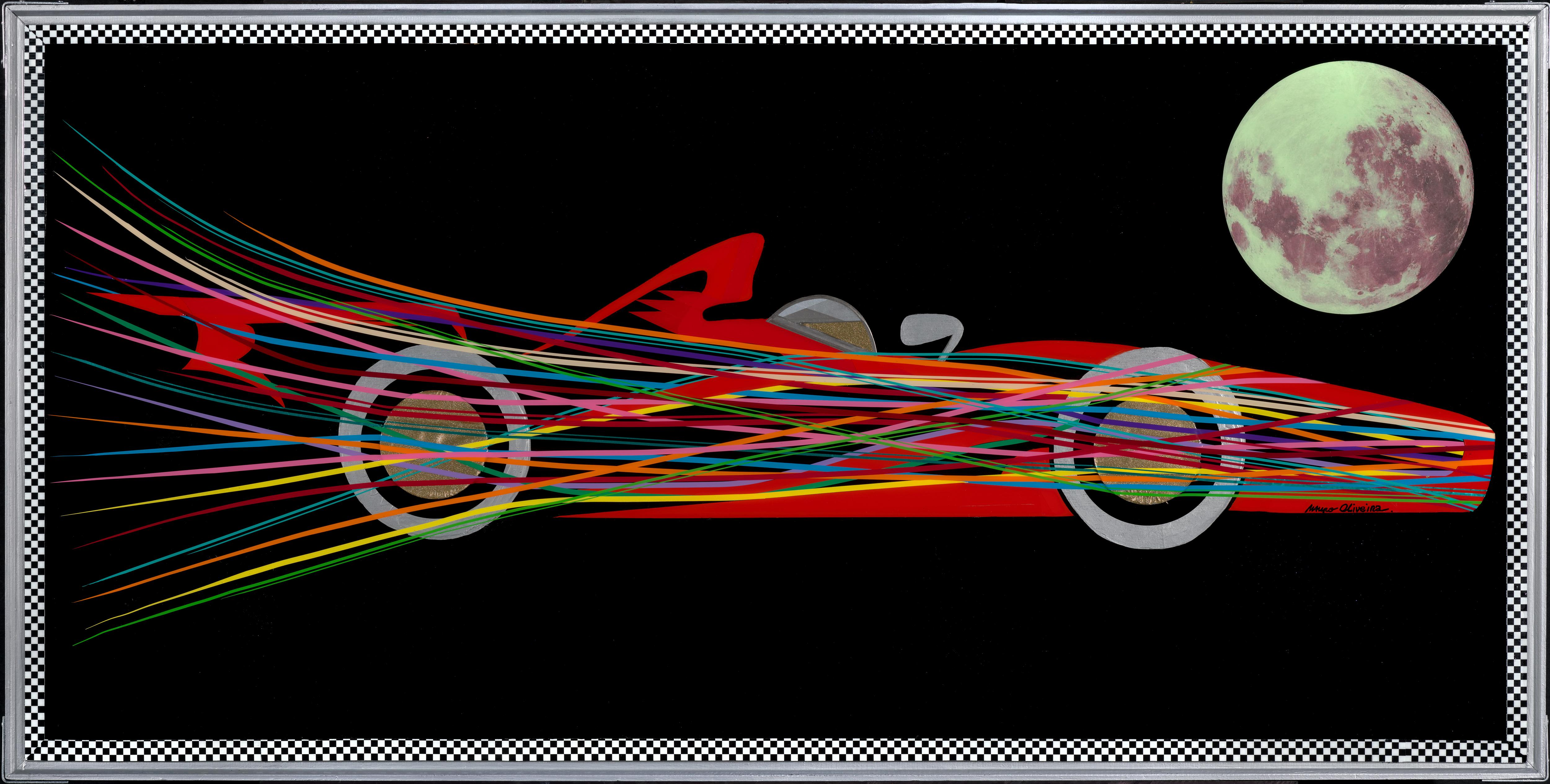 Colorful and Supersonic Formula 1000 (Original Mixed media Artwork)