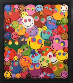 Happy Rainbow Bubbles - Colorful Mixed Media Artwork