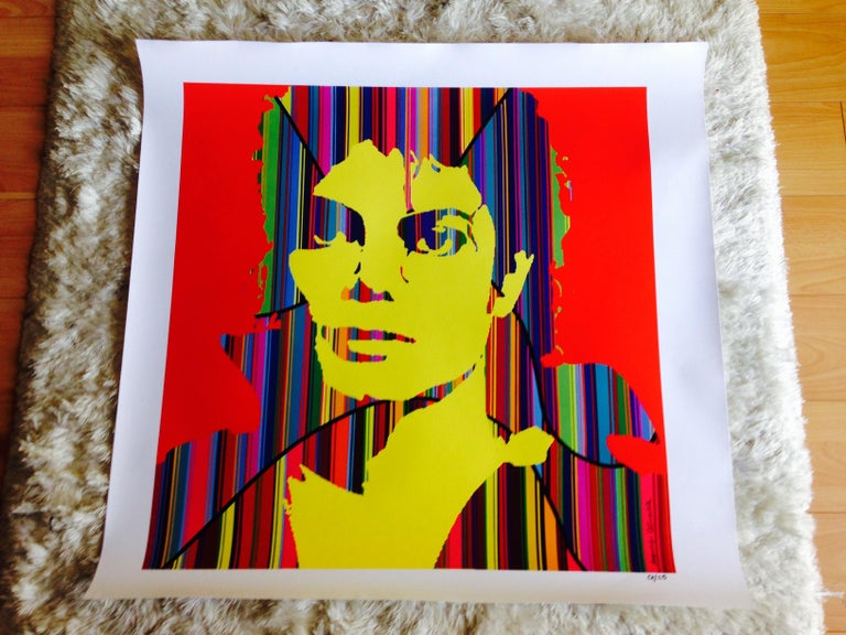 Celebrating the King of Pop Michael Jackson in this unique mixed media Pop artwork by Mauro Oliveira. The colorful stripes represent the music and happiness he left to the world.  Limited edition of 30 museum quality Giclee prints on CANVAS, signed