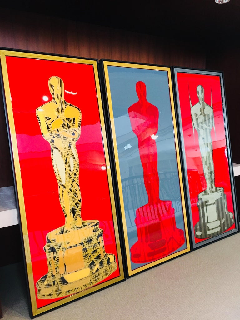 One of 2 SUNNY Oscar series by Mauro Oliveira found an amazing state in the Hollywood Hills, Ca. You can also have your own limited edition or order and original.   Celebrating the Academy in this original and limited Oscar art series by Mauro