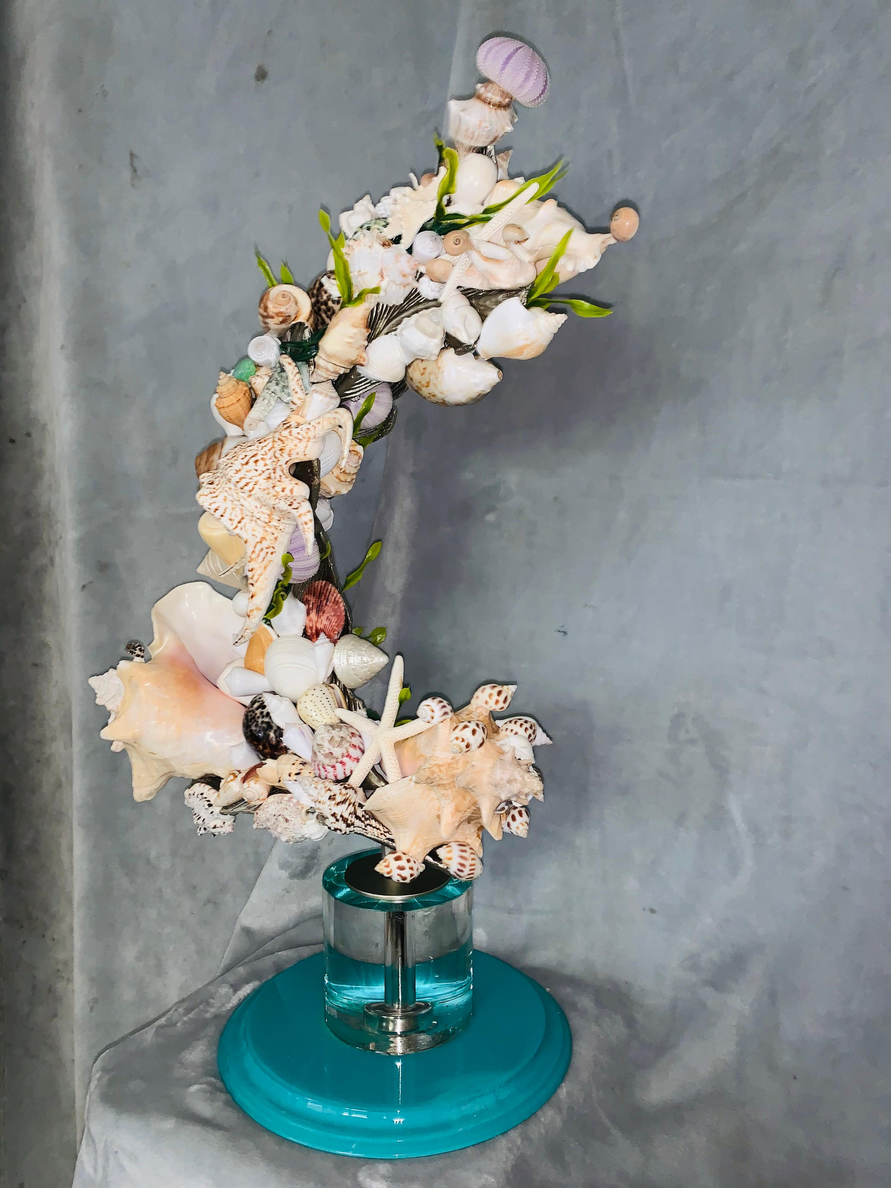CORAL GABLES (ONE OF A KIND MIXED MEDIA BRONZE SCULPTURE W/ REAL SEASHELLS)