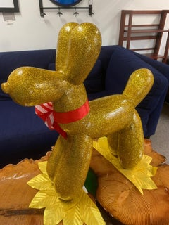 GLITTER BALOON DOG III (Original Mixed Media Sculpture - GOLD)