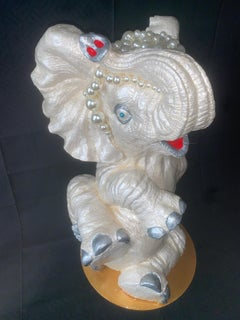 Lucky Baby Elephant II (Original Elephant Sculpture - Pearl-Silver-Gold))