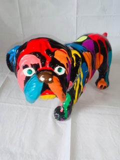 Pop Puppies I (Original English Bulldog Sculpture - Black)