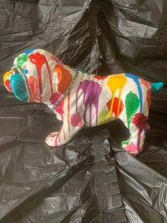 Pop Puppies II (Original English Bulldog Sculpture - White)