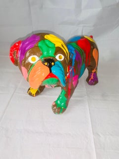 Pop Puppies III (Original English Bulldog Sculpture - Brown)