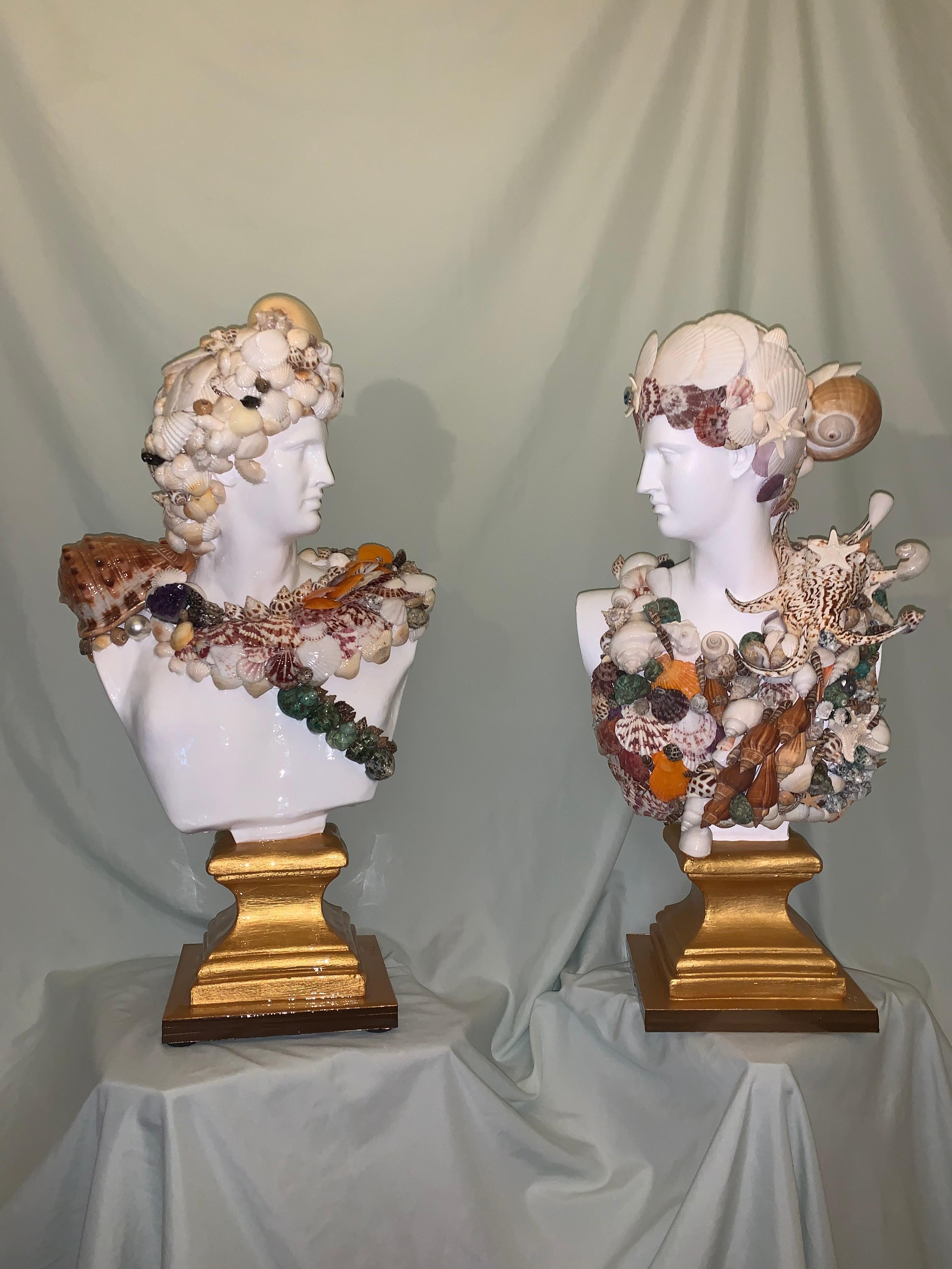 Seashells Encrusted Apollo&Diana Sculpture Pair (Original MixedMedia Sculptures)