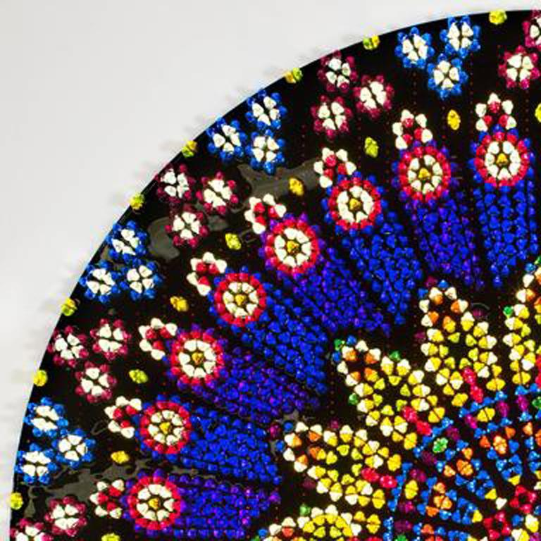 Glowing in jewel-like tones inspired by Notre Dame's Rose Window, this unique piece by Mauro Perucchetti is exquisitely detailed and crafted. It comprises 6,212 individual Jelly Babies, ranging in colour from lime green to deep blue. The Jelly
