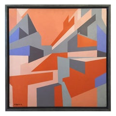 Mauro Reggianni Oil on Canvas Geometric Painting