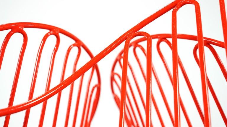 Mauser Waldeck, 2 Modernist Garden Chairs 1952, Germany in Bright Orange For Sale 3
