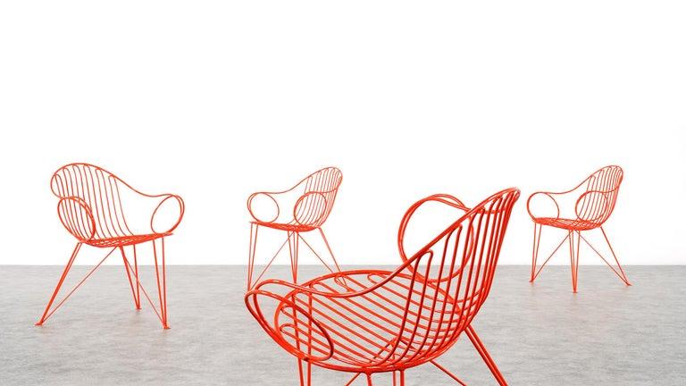 Mauser Waldeck, 2 Modernist Garden Chairs 1952, Germany in Bright Orange For Sale 5