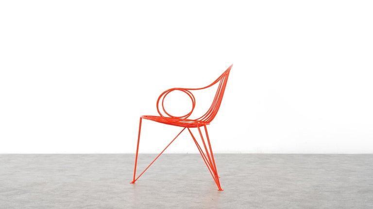 Mauser Waldeck, 2 Modernist Garden Chairs 1952, Germany in Bright Orange For Sale 6