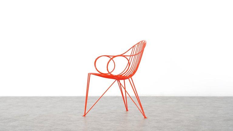Mauser Waldeck, 2 Modernist Garden Chairs 1952, Germany in Bright Orange For Sale 7
