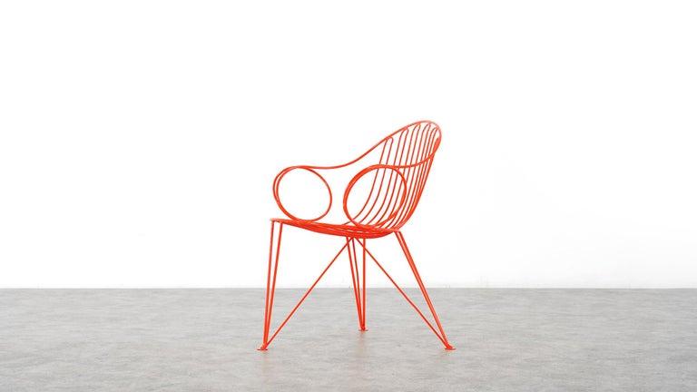 Mauser Waldeck, 2 Modernist Garden Chairs 1952, Germany in Bright Orange For Sale 8
