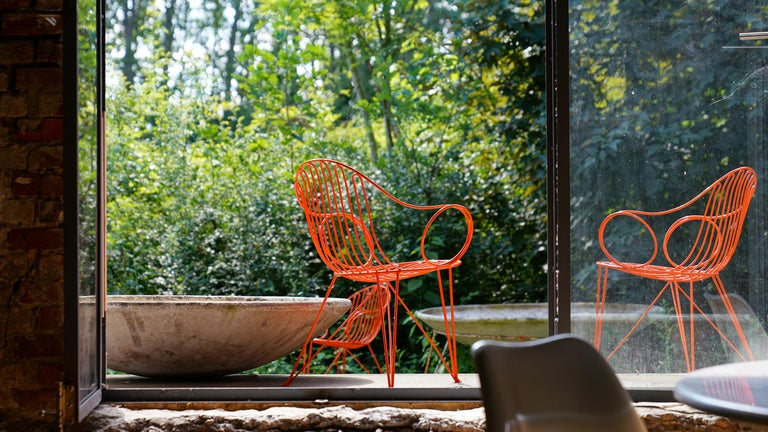 Mauser Waldeck, 2 Modernist Garden Chairs 1952, Germany in Bright Orange For Sale 9