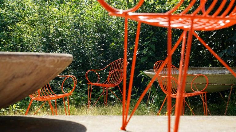 Mauser Waldeck, 2 Modernist Garden Chairs 1952, Germany in Bright Orange For Sale 10