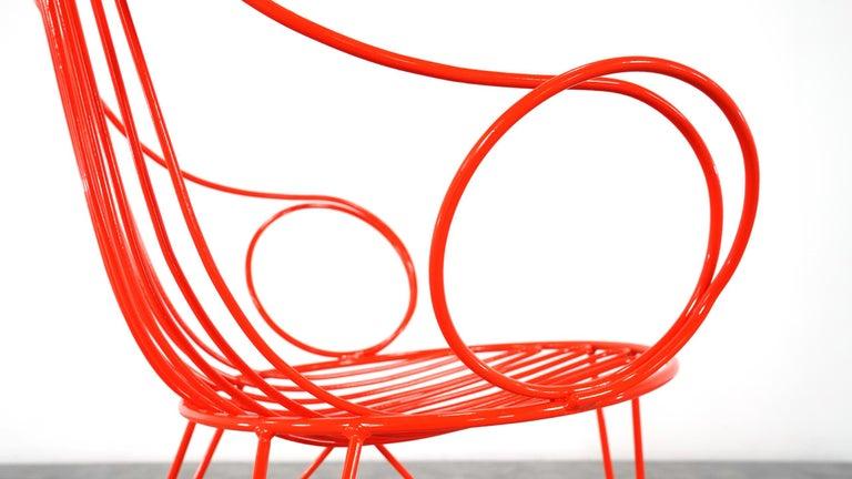 Mauser Waldeck, 2 Modernist Garden Chairs 1952, Germany in Bright Orange For Sale 11