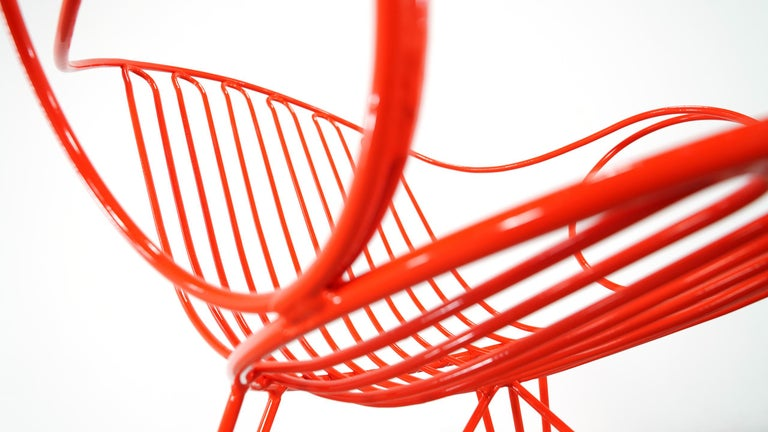 Mauser Waldeck, 2 Modernist Garden Chairs 1952, Germany in Bright Orange For Sale 13