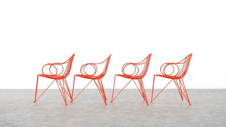 Mid-Century Modern Mauser Waldeck, 2 Modernist Garden Chairs 1952, Germany in Bright Orange For Sale