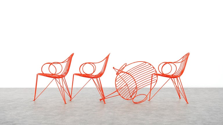 Powder-Coated Mauser Waldeck, 2 Modernist Garden Chairs 1952, Germany in Bright Orange For Sale