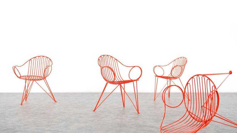 Mauser Waldeck, 2 Modernist Garden Chairs 1952, Germany in Bright Orange In Good Condition For Sale In Munster, NRW