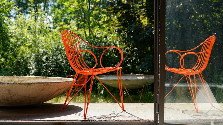 Mid-20th Century Mauser Waldeck, 2 Modernist Garden Chairs 1952, Germany in Bright Orange For Sale