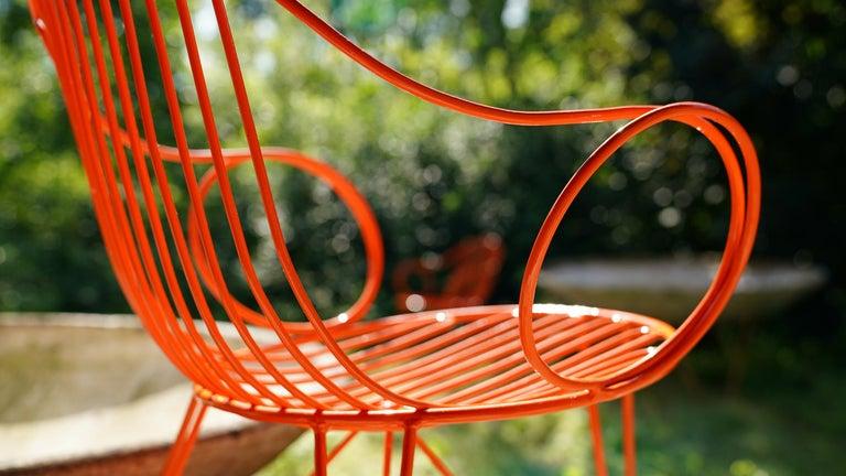 Steel Mauser Waldeck, 2 Modernist Garden Chairs 1952, Germany in Bright Orange For Sale