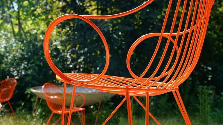 Mauser Waldeck, 2 Modernist Garden Chairs 1952, Germany in Bright Orange For Sale 1