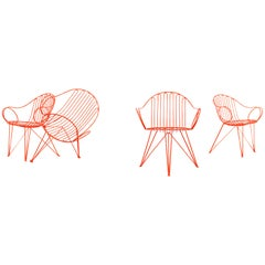 Mauser Waldeck, 2 Modernist Garden Chairs 1952, Germany in Bright Orange