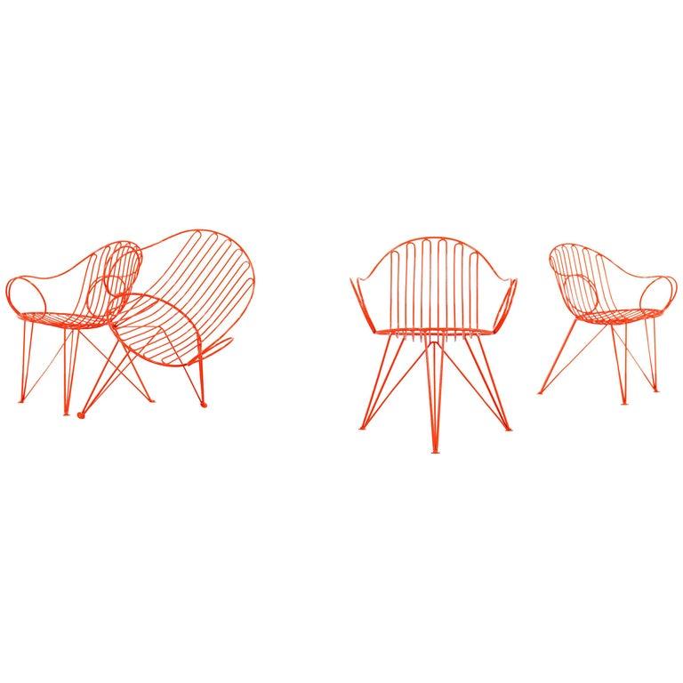 Mauser Waldeck, 2 Modernist Garden Chairs 1952, Germany in Bright Orange For Sale