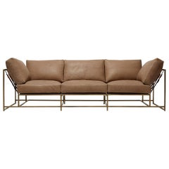 Mauve Leather and Antique Brass Sofa