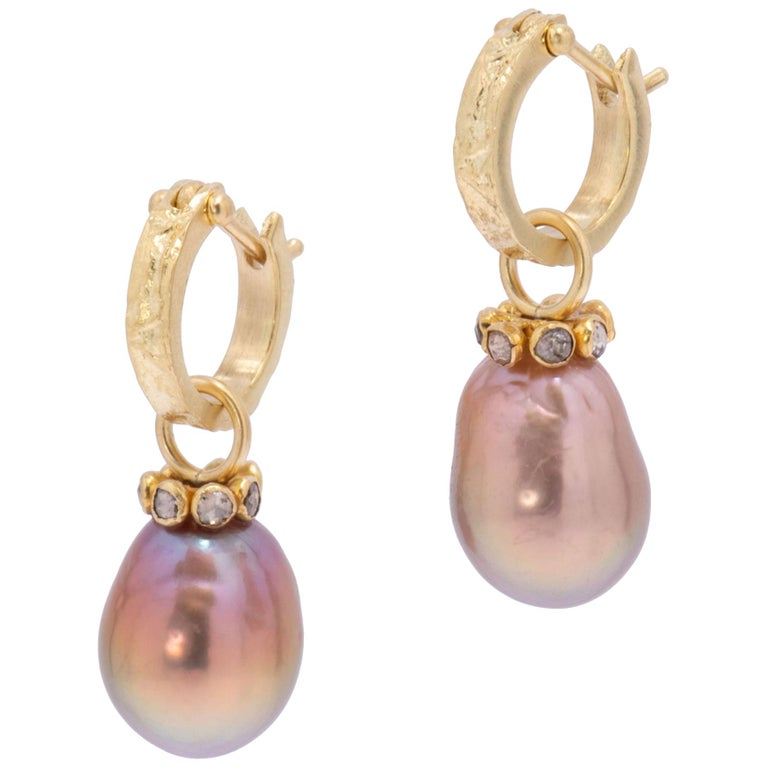 Mauve Pearl Drop Earrings with Cognac Diamonds in 22 Karat and 18 Karat Gold