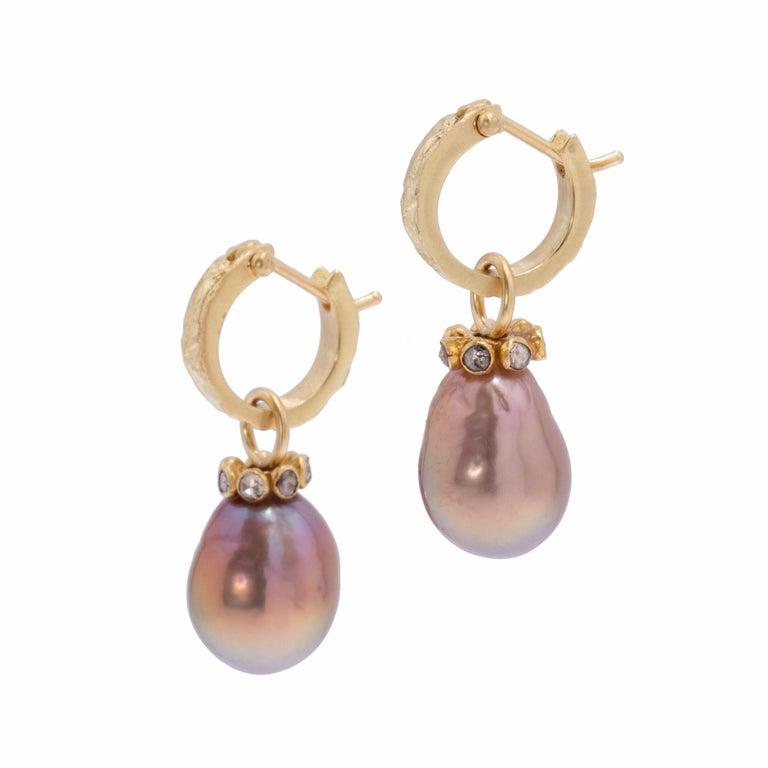 Contemporary Mauve Pearl Drop Earrings with Cognac Diamonds in 22 Karat and 18 Karat Gold