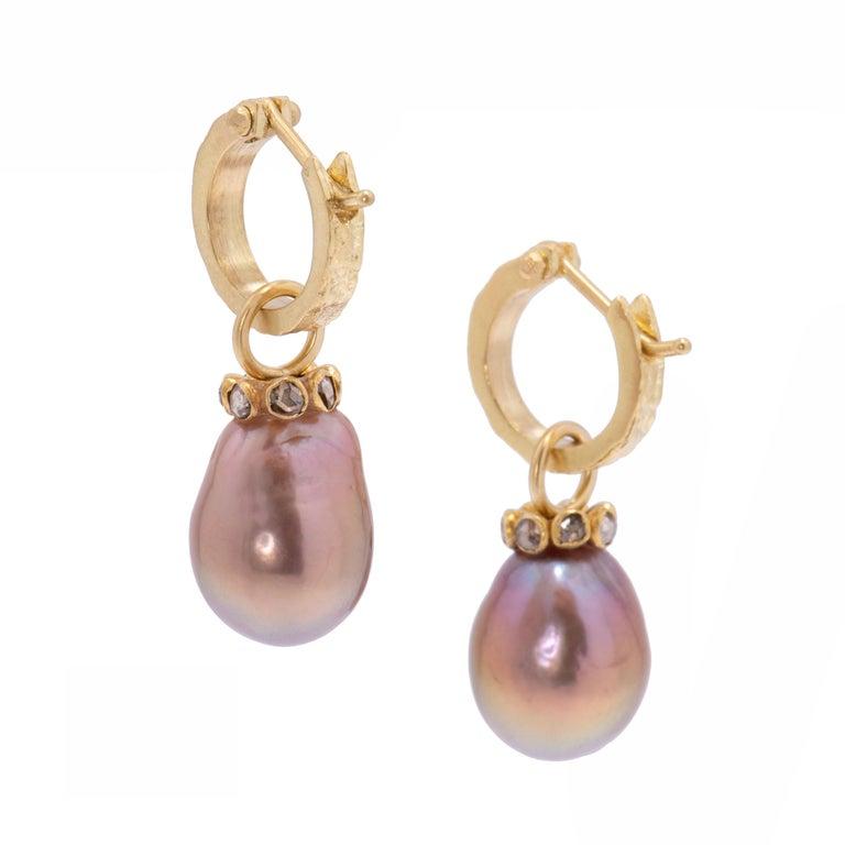Women's Mauve Pearl Drop Earrings with Cognac Diamonds in 22 Karat and 18 Karat Gold