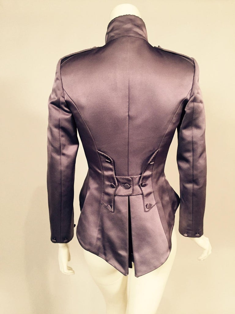 Brown Mauve Silk Satin Victorian Style Jacket Designed by Maggie Norris Couture For Sale