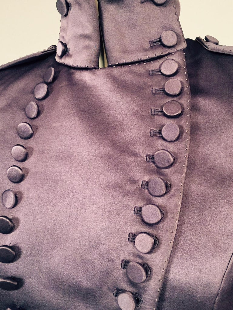 Mauve Silk Satin Victorian Style Jacket Designed by Maggie Norris Couture In Excellent Condition For Sale In New Hope, PA