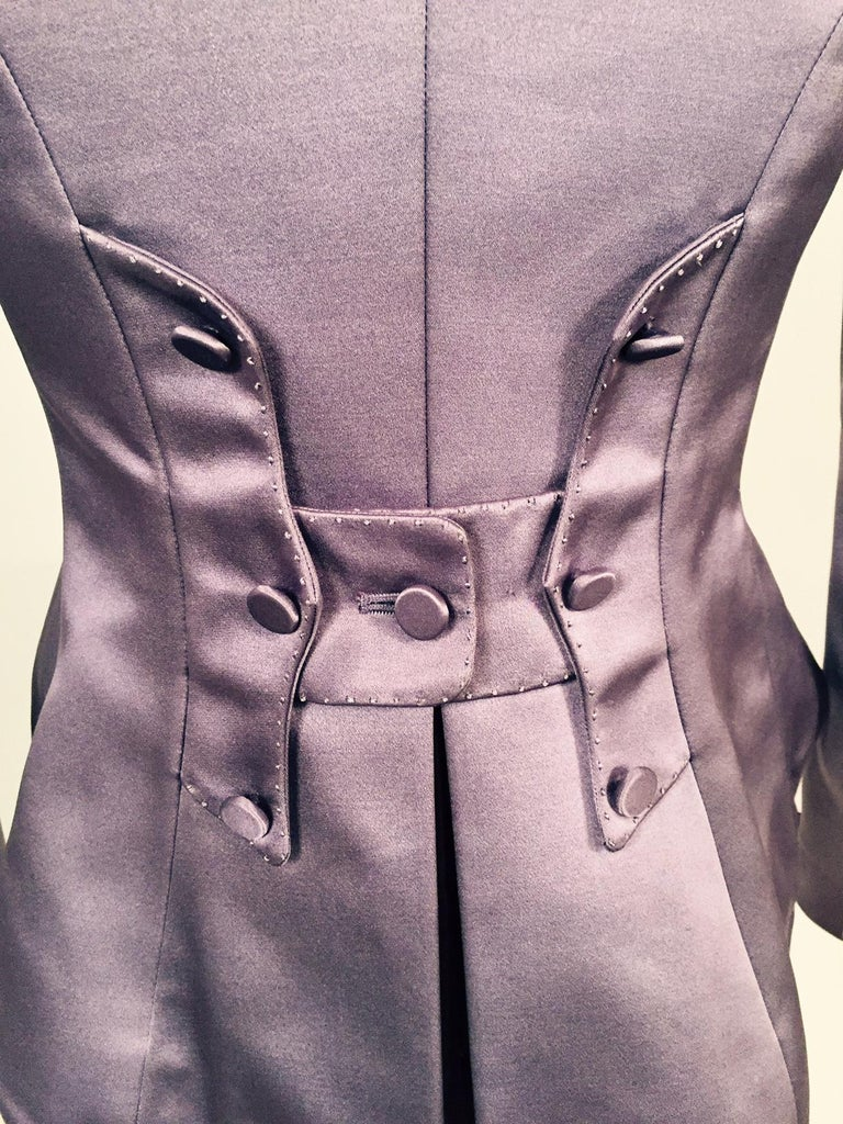 Women's Mauve Silk Satin Victorian Style Jacket Designed by Maggie Norris Couture For Sale