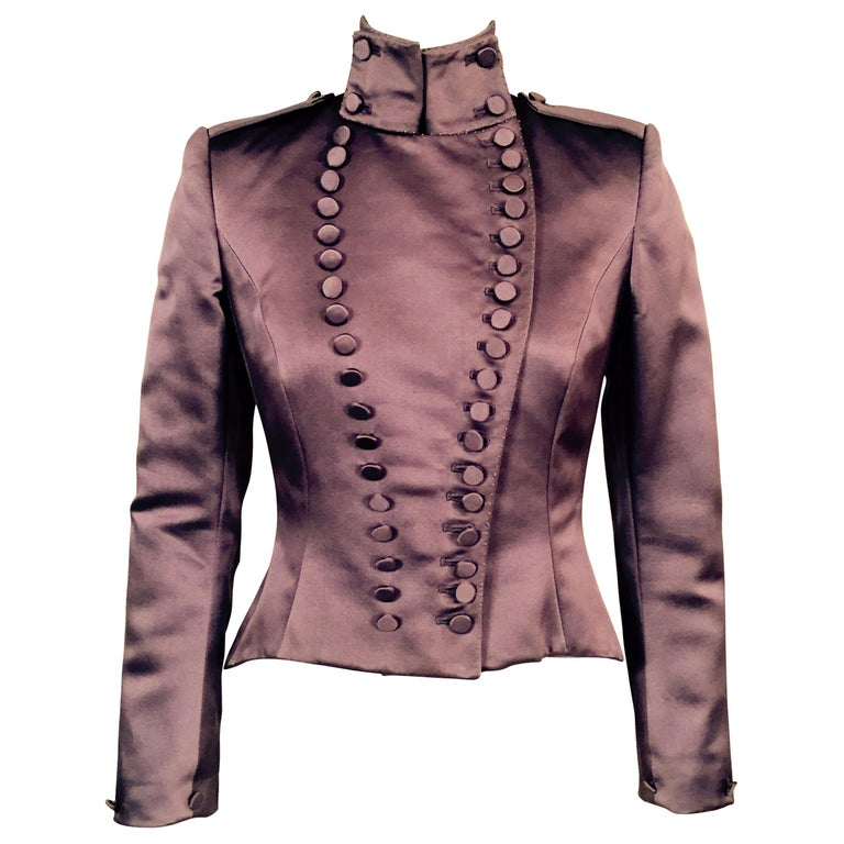 Mauve Silk Satin Victorian Style Jacket Designed by Maggie Norris Couture For Sale