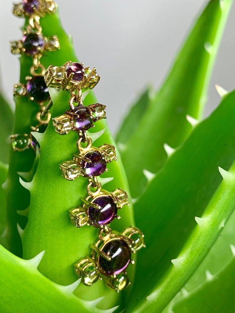Maviada's 18 Karat Gold Plus and Drop Earrings, Blue Topaz and Green Peridot For Sale 4