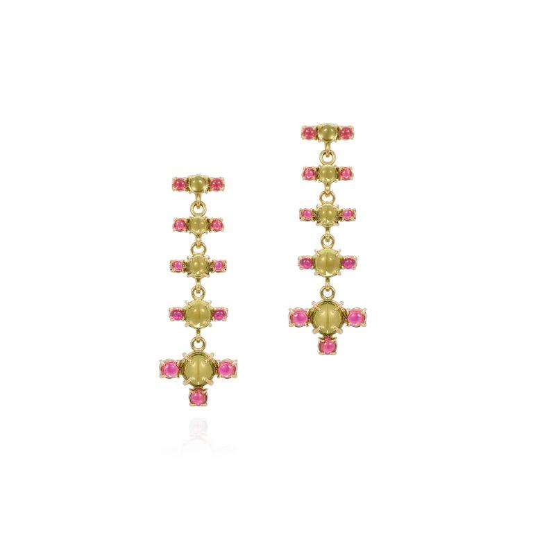 Contemporary Maviada's 18 Karat Gold Plus and Drop Earrings, Blue Topaz and Green Peridot For Sale