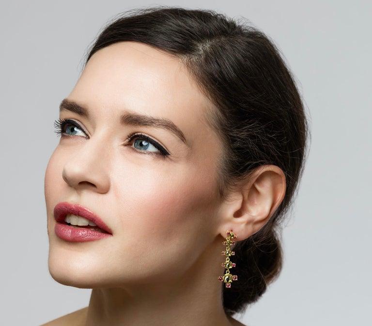 Round Cut Maviada's 18 Karat Gold Plus and Drop Earrings, Blue Topaz and Green Peridot For Sale