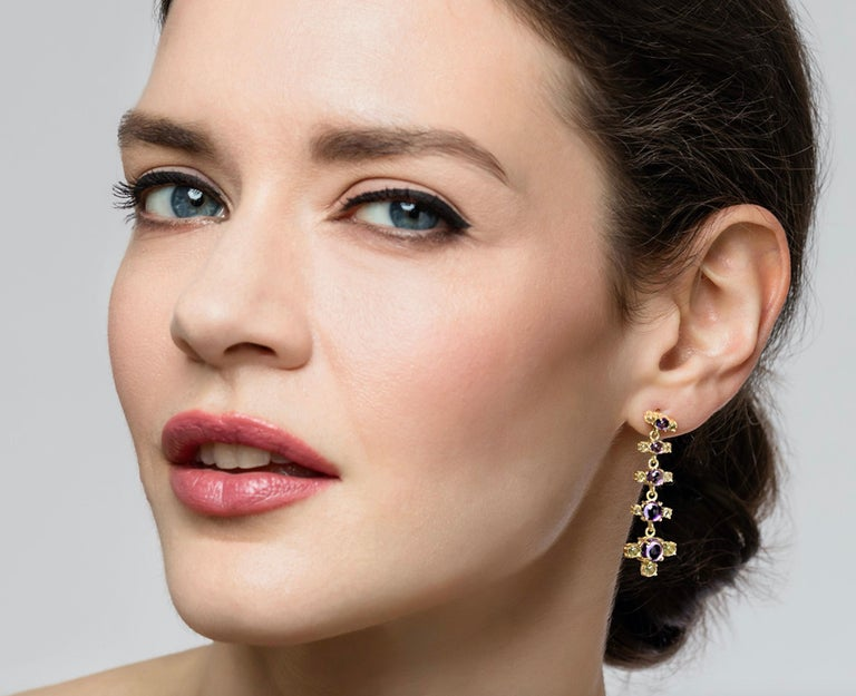 Women's Maviada's 18 Karat Gold Plus and Drop Earrings, Blue Topaz and Green Peridot For Sale