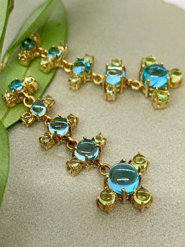Maviada's 18 Karat Gold Plus and Drop Earrings, Blue Topaz and Green Peridot For Sale 1