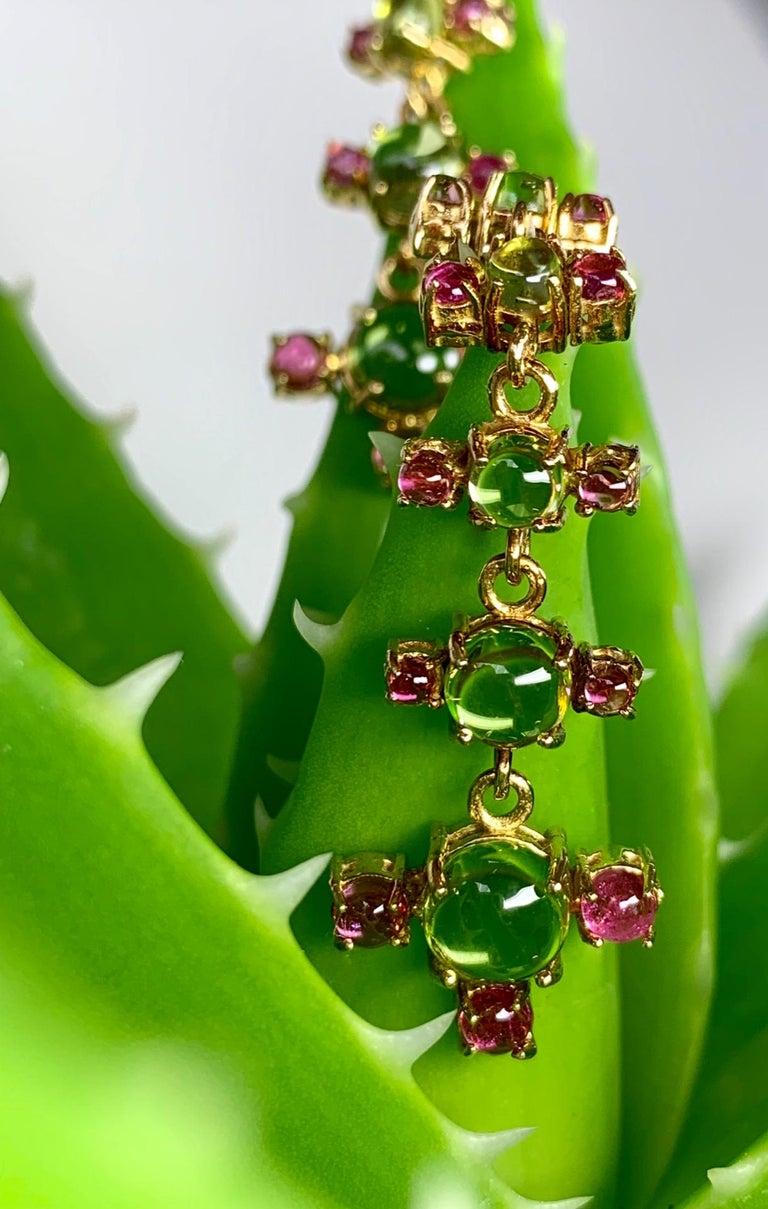 Maviada's 18 Karat Gold Plus and Drop Earrings, Blue Topaz and Green Peridot For Sale 2