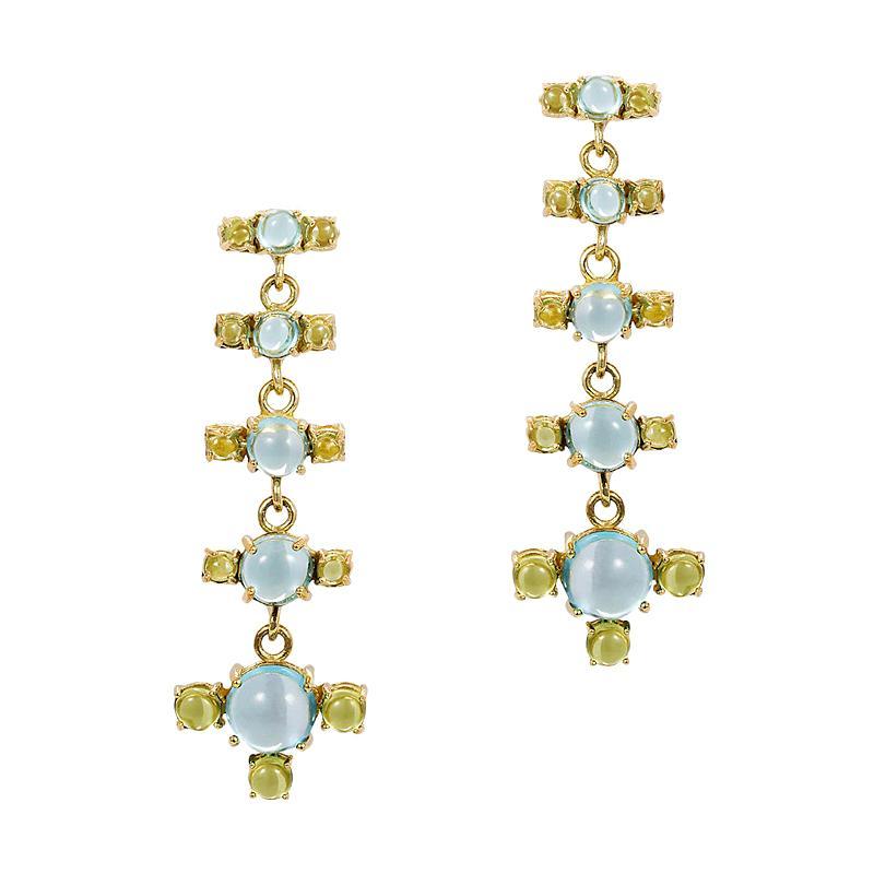 Maviada's 18 Karat Gold Plus and Drop Earrings, Blue Topaz and Green Peridot