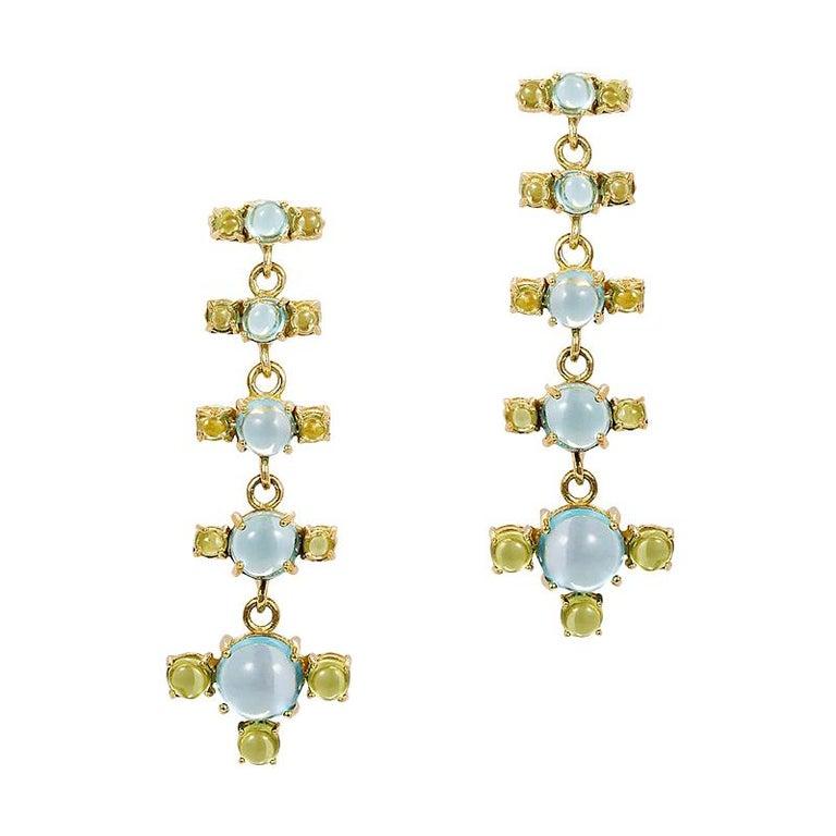 Maviada's 18 Karat Gold Plus and Drop Earrings, Blue Topaz and Green Peridot For Sale