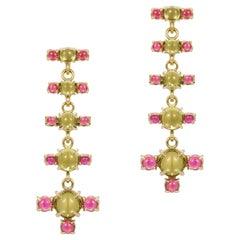 Maviada's 18 Karat Gold Plus + Drop Earrings, Green Peridot and Pink Tourmaline