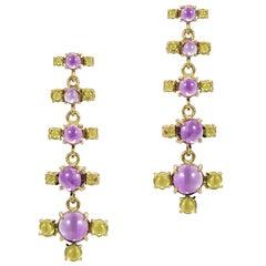 Maviada's 18 Karat Gold Plus + Drop Earrings, Purple Amethyst and Green Peridot