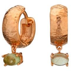 MAVIADA' s 18k Rose Gold Vermeil Bastia Mini Green Peridot quartz Hoop Earring