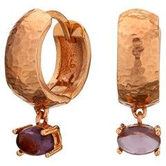 MAVIADA' s 18k Rose Gold Vermeil Bastia Mini Purple Amethyst Modern Hoop Earring